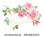 Stock photo frame from roses wedding drawings water color painting greeting cards roses background 481865452