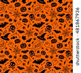halloween orange festive... | Shutterstock .eps vector #481867936