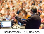 speaker giving a talk on... | Shutterstock . vector #481869226