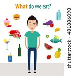food choices. man and products. ... | Shutterstock .eps vector #481886098