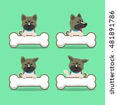 cartoon akita inu dog with big...   Shutterstock .eps vector #481891786