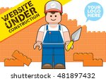Website Under Construction Cartoon Vector Illustration