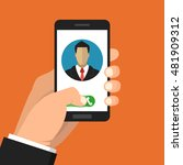 incoming call on smartphone... | Shutterstock .eps vector #481909312