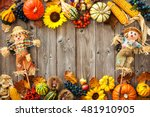 Colorful Autumn Border With...