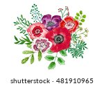 bouquet of flowers and leaves ... | Shutterstock . vector #481910965