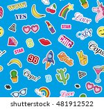 seamless pattern with fashion...   Shutterstock .eps vector #481912522