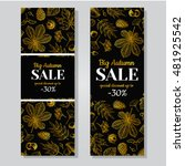 autumn sale vector gold banner... | Shutterstock .eps vector #481925542