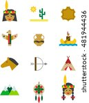 native americans colored flat...   Shutterstock .eps vector #481944436
