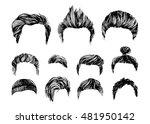 hand drawn hair styles vector... | Shutterstock .eps vector #481950142