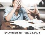 boss threatening with finger...   Shutterstock . vector #481953475