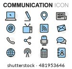 vector flat line communication... | Shutterstock .eps vector #481953646