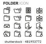 vector black line folder icons...   Shutterstock .eps vector #481953772