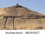"""The mountain with royal tombs in """"Aswan"""" in Egypt - stock photo"""