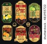 set of organic fruit retro... | Shutterstock .eps vector #481955722