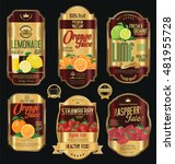 set of organic fruit retro... | Shutterstock .eps vector #481955728