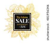 autumn sale vector gold banner... | Shutterstock .eps vector #481956346