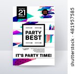 disco party poster template... | Shutterstock .eps vector #481957585