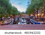 amsterdam. city canal at dawn. | Shutterstock . vector #481962232