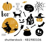 halloween set with bats  spider ... | Shutterstock .eps vector #481980106