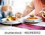 couple in a restaurant. close... | Shutterstock . vector #481983052