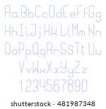 thin line vector font. alphabet ... | Shutterstock .eps vector #481987348