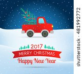 vector greeting christmas card. ... | Shutterstock .eps vector #481992772