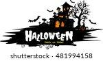 halloween night background with ... | Shutterstock .eps vector #481994158