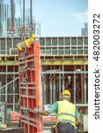 lifting concrete pillar mold... | Shutterstock . vector #482003272