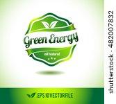 green energy badge label seal...   Shutterstock .eps vector #482007832