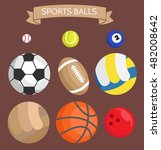 icon set. sports balls ... | Shutterstock . vector #482008642