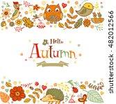 hello autumn banner in doodle...   Shutterstock .eps vector #482012566