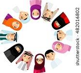 set of cartoon different arab... | Shutterstock .eps vector #482016802