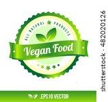 vegan food badge label seal...   Shutterstock .eps vector #482020126