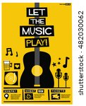 let the music play   flat style ... | Shutterstock .eps vector #482030062
