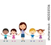 cheerful teacher and students.... | Shutterstock .eps vector #482033536