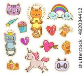 vector collection of cute... | Shutterstock .eps vector #482034412