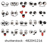 emotions. set of doodle faces.... | Shutterstock .eps vector #482041216