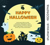 halloween concept banner with... | Shutterstock .eps vector #482046946