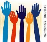 hands volunteering or voting... | Shutterstock .eps vector #48204811