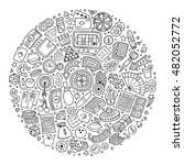 line art vector hand drawn set... | Shutterstock .eps vector #482052772