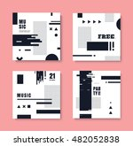 set of monochrome invitation... | Shutterstock .eps vector #482052838