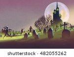 spooky castle halloween concept ... | Shutterstock . vector #482055262