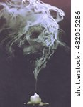 skull shaped smoke comes out... | Shutterstock . vector #482055286