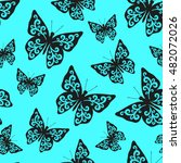 butterfly seamless background ... | Shutterstock .eps vector #482072026