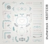 set of colorful hand drawn... | Shutterstock .eps vector #482072338