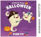 vintage halloween poster design ... | Shutterstock .eps vector #482072725