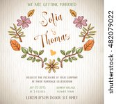 wedding invitation card with... | Shutterstock .eps vector #482079022
