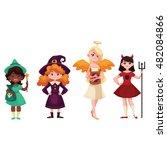 girls dressed in costumes for...   Shutterstock .eps vector #482084866