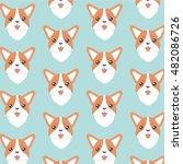 happy dog welsh corgi orange ... | Shutterstock .eps vector #482086726