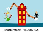 displacement of family in house ... | Shutterstock .eps vector #482089765